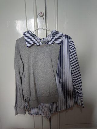 🌬Nudge韓國製假兩件式設計師襯衫