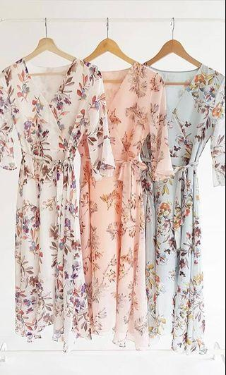 Ethereal Floral Kimono Wrap Sleeve Midi Dress (Dusty Pink) from LOVET