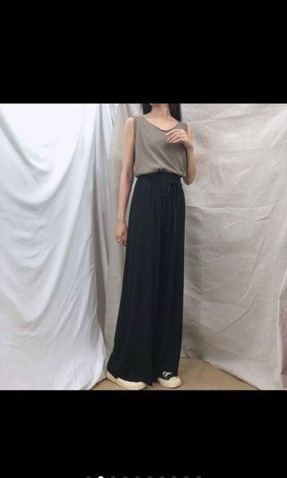 超顯瘦條紋寬褲