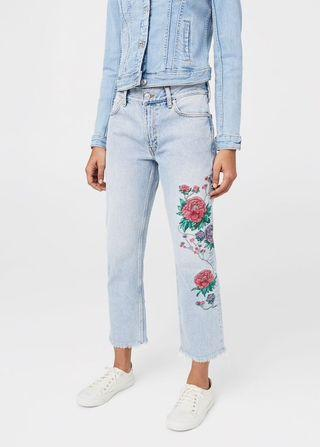 MANGO Embroidered Jeans