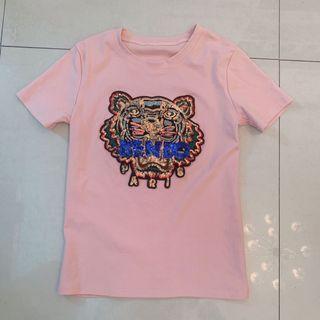 正韓 韓國 裸粉色 kenzo老虎頭亮片閃亮金蔥刺繡 舒適彈性棉料合身休閒上衣