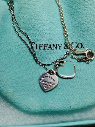 [專櫃正貨]Tiffany&co  Return to TIffany 迷你雙心純銀項鍊 藍綠色琺瑯雙心項鍊 二手