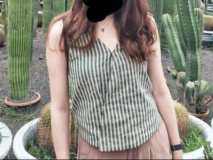 綠色條紋麻棉無袖綁帶上衣#五折出清女裝