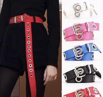 Korean Belt Canvas Belt with Single Hole Black Red White Pink Blue