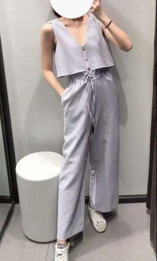 藍色條紋連身褲 #五折出清女裝