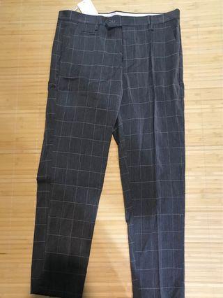韓風格紋西裝褲 全新
