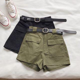 【預購】工裝短褲附皮帶 (2色)