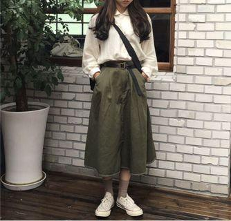 軍綠A字裙#五折出清女裝