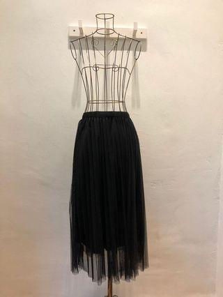 Black Straight Cut Long Tutu Skirt