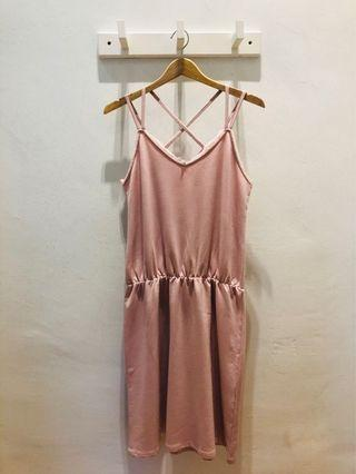 Pink Stretchable Waist Romper