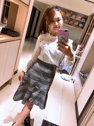 全新僅試穿✨韓國購入魚尾灰格長裙