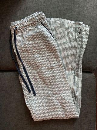 High-waisted linen pants