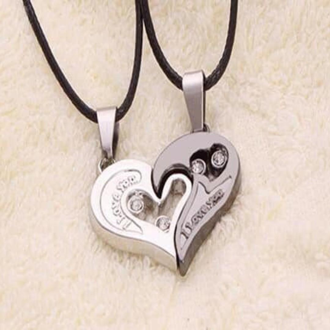 2Pcs Stylish His Hers Heart Pendant Girlfriend Boyfriend Letters Couple Love Necklace love forever
