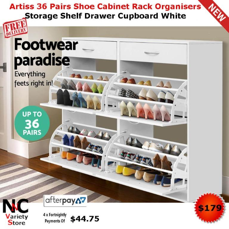 Artiss 36 Pairs Shoe Cabinet Rack Organisers Storage