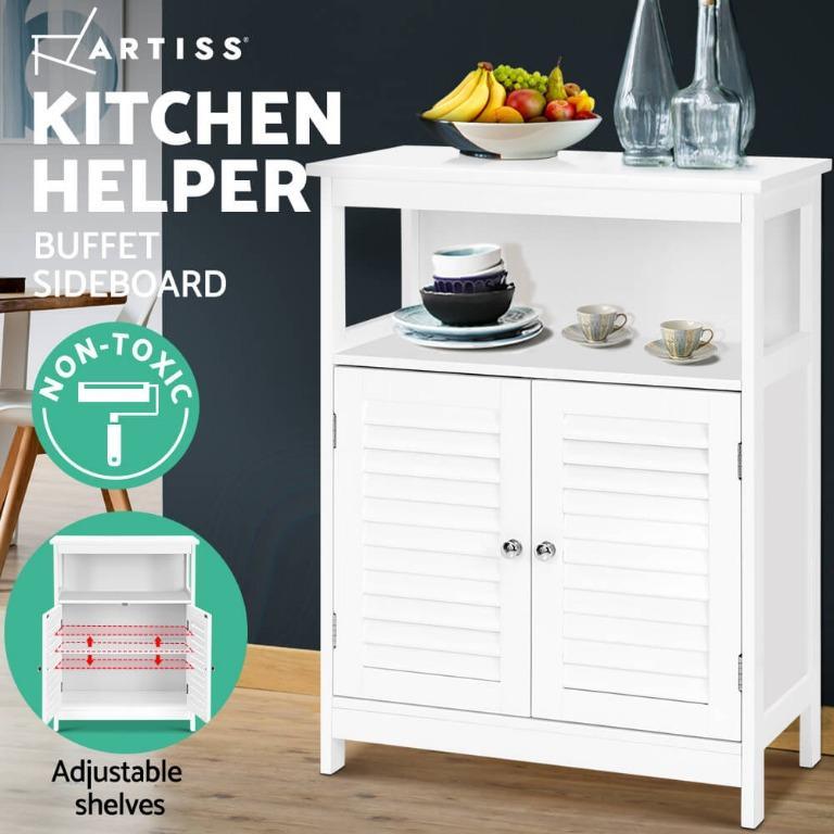 Artiss Sideboard Buffet Kitchen Dresser Storage Cabinet Cupboard Hallway White