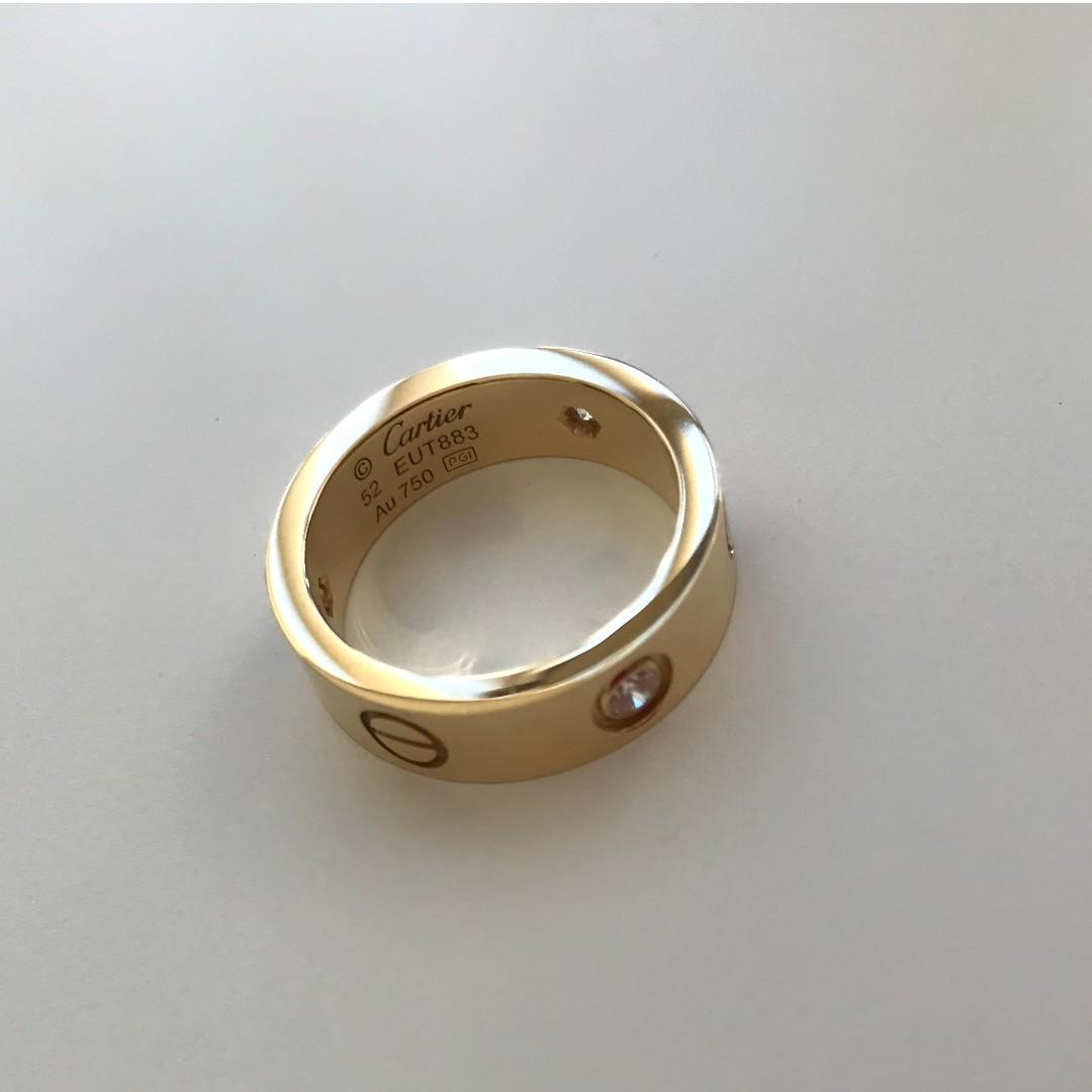 *AUTHENTIC* Cartier Love Ring, 3 Diamonds - Yellow Gold