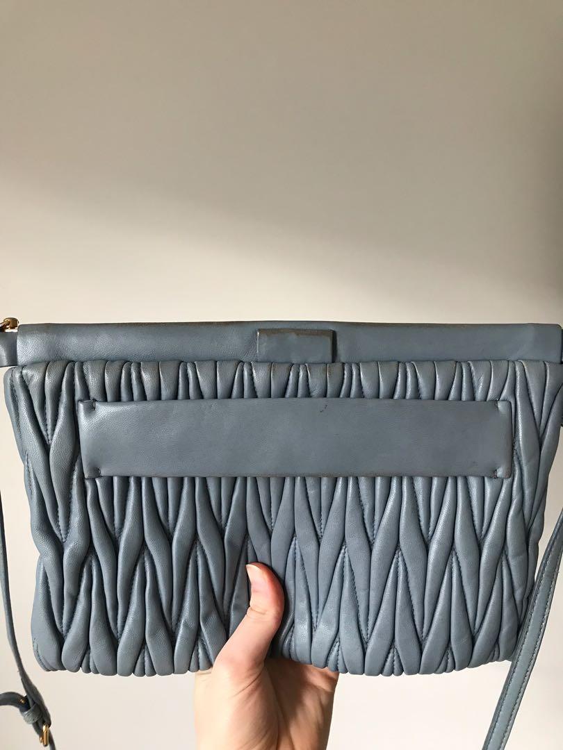 Authentic Miu Miu Matelasse bag / clutch baby blue