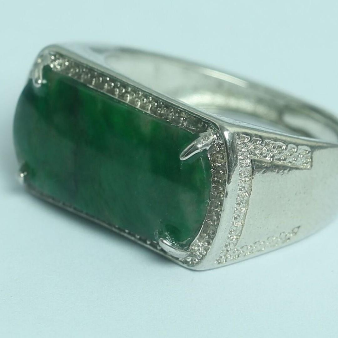 Cert'd Genuine Untreated Green A Jadeite Jade 925 Silver Ring z775922