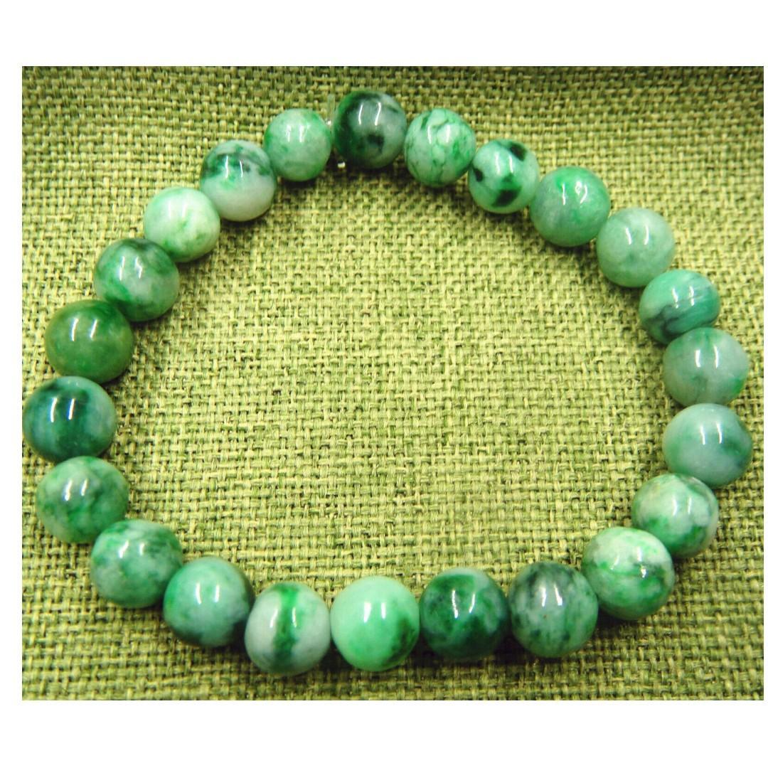 Certified Green Grade A Jade Jadeite 8mm Beads Bangle Stretchy Bracelet