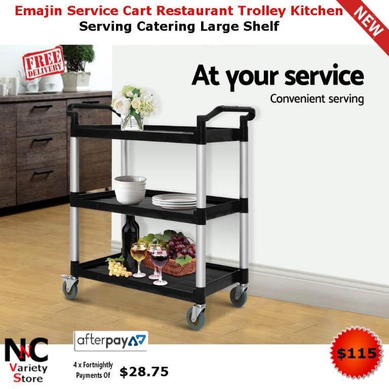 Emajin Service Cart Restaurant Trolley Kitchen Serving Catering Large Shelf