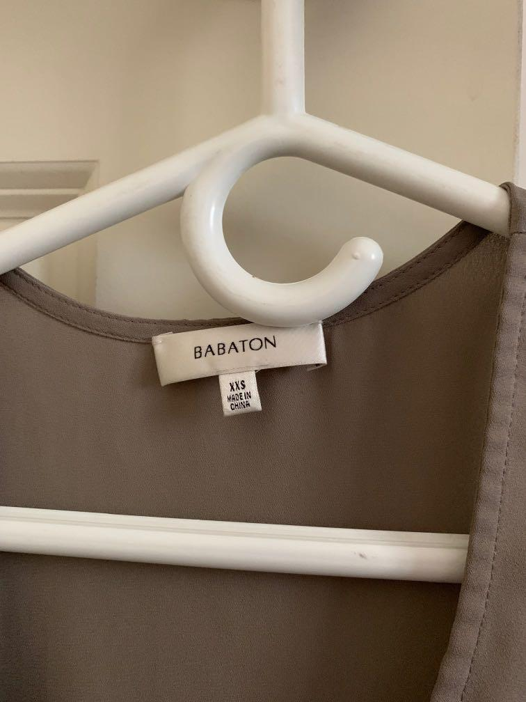 grey/olive XXS BABATON/aritzia Tank Chiffon/silk material