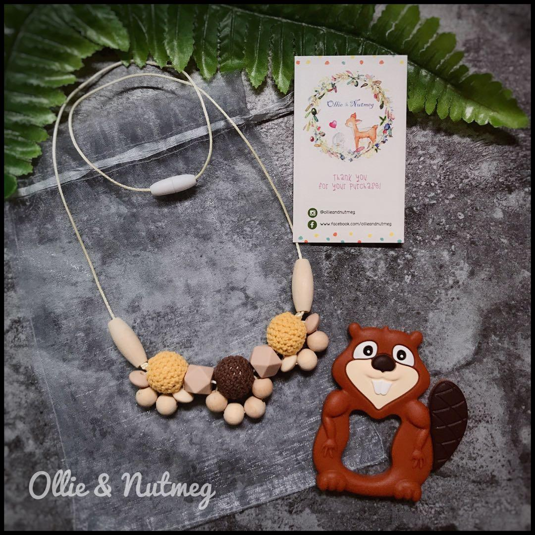 Handmade Teething Necklace and Woodland Baby Teether