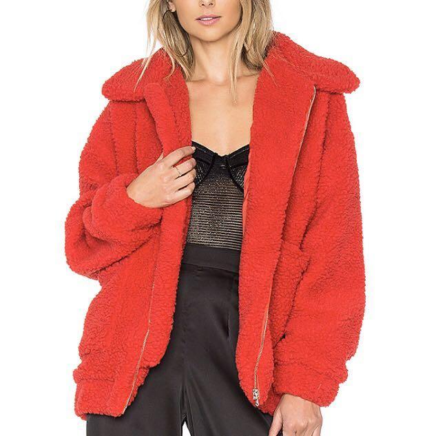I AM GIA red teddy coat