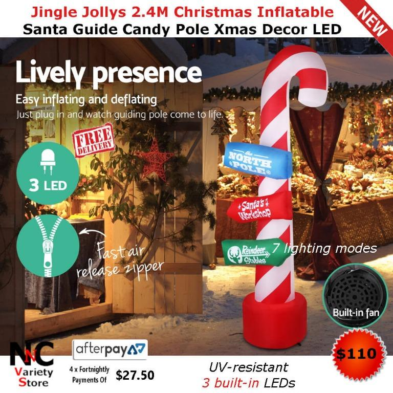 Jingle Jollys 2.4M Christmas Inflatable Santa Guide Candy