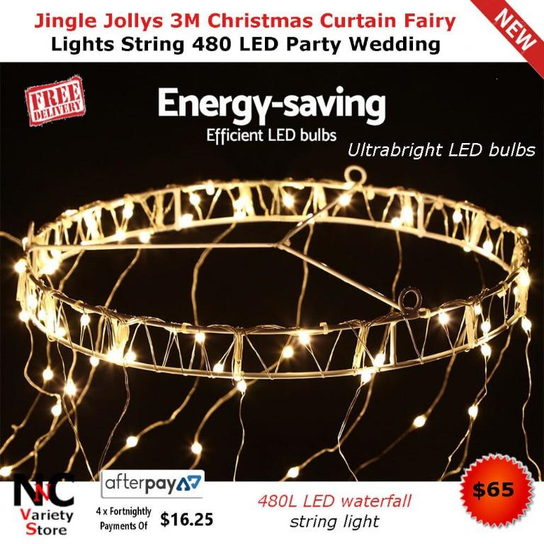 Jingle Jollys 3M Christmas Curtain Fairy Lights String