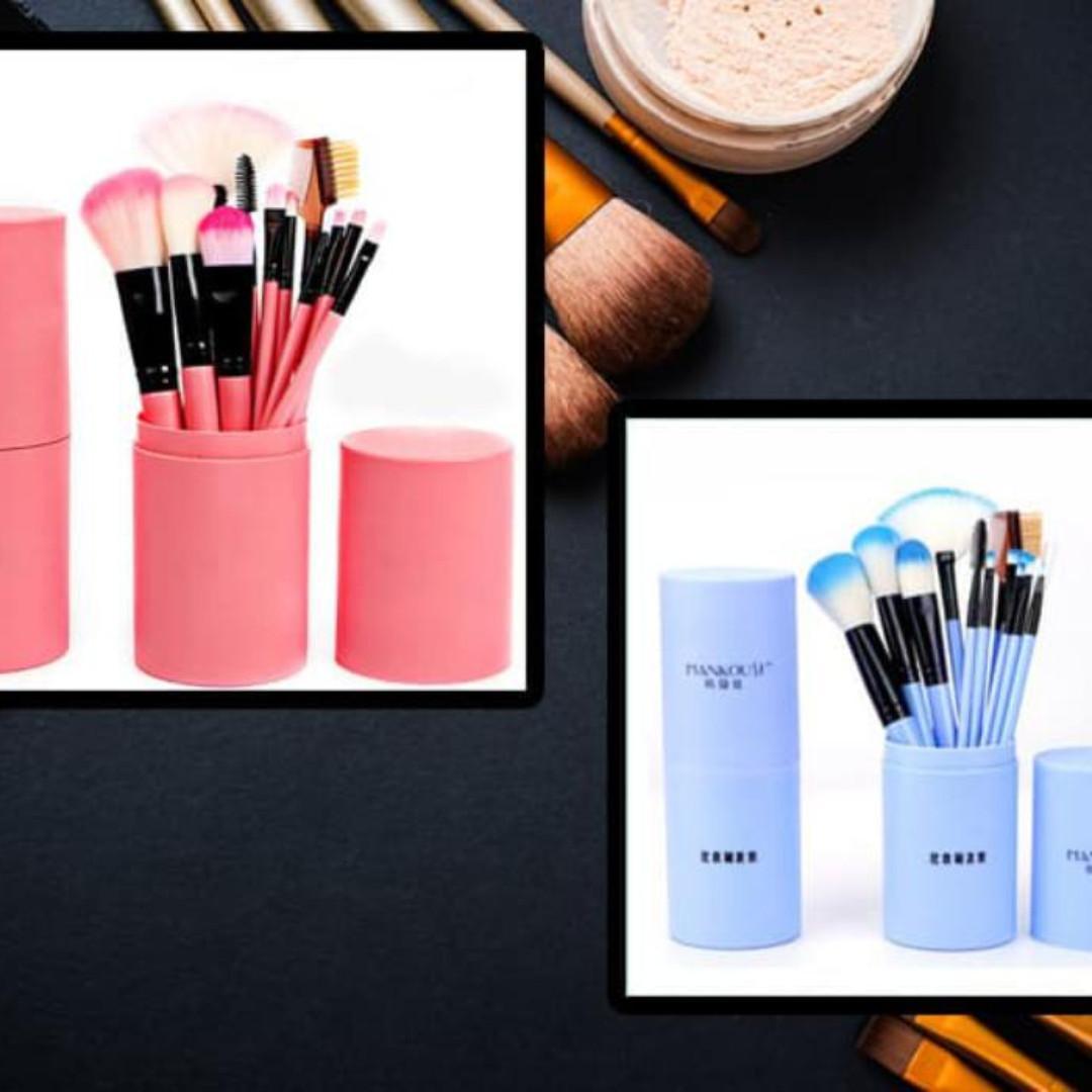 kuas rias wajah / make up brush/ peralatan rias wajah set 12 in box