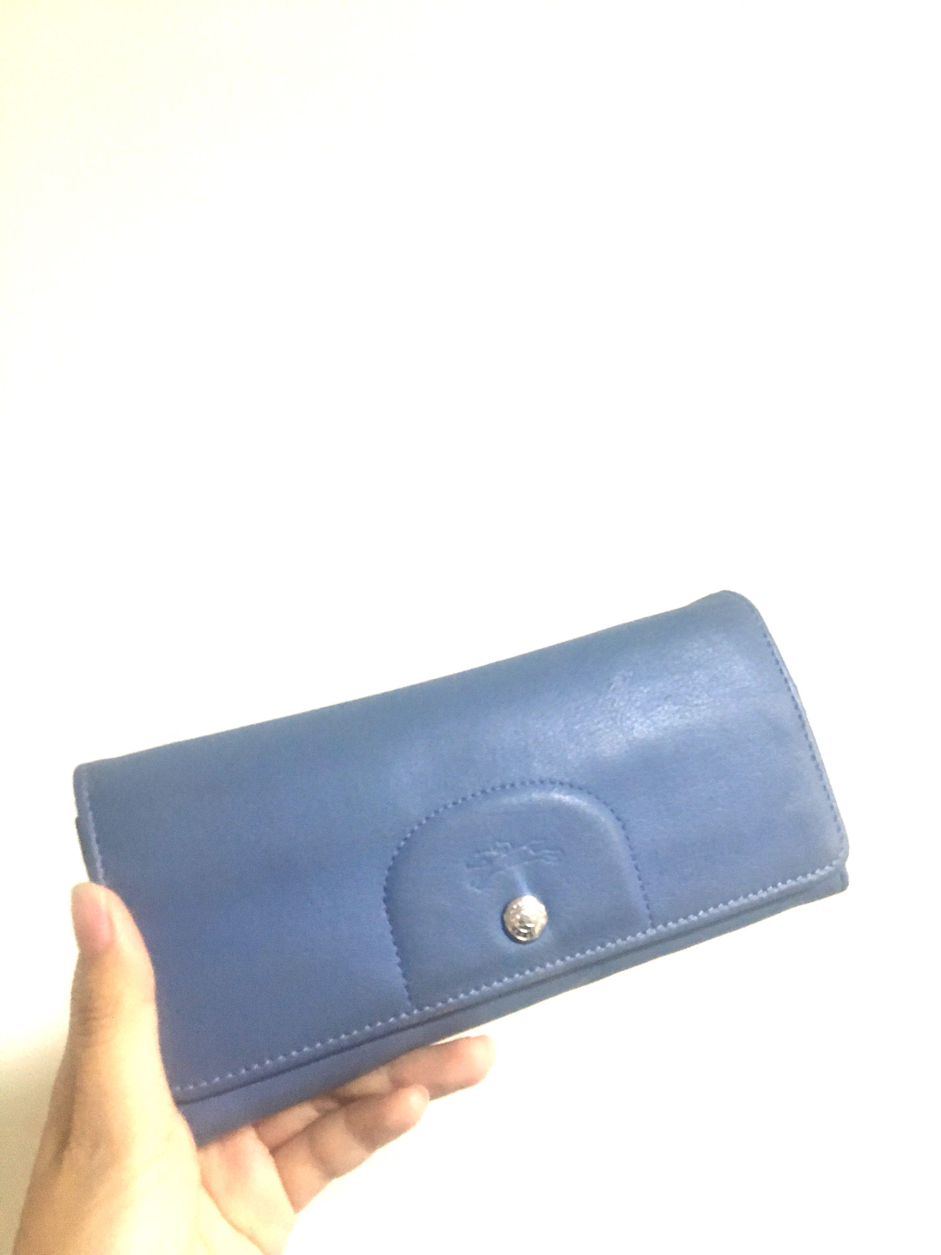 降價 Longchamp 小羊皮對摺長夾 淺藍色