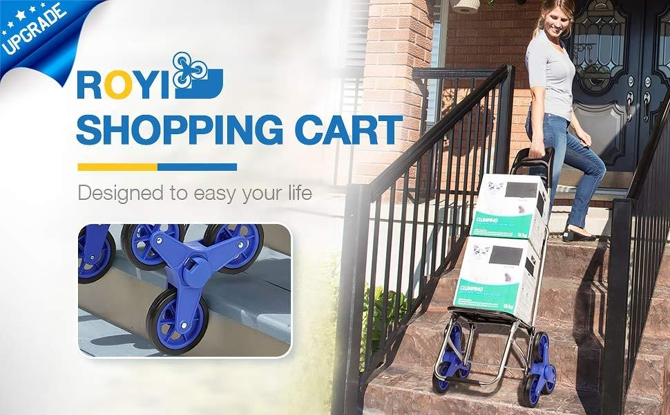 New ROYI Smart stair climber shopping cart with bag for easy weekly grocery shopping