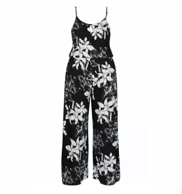 NWT City Chic Floral Jumpsuit sizes 16 18 20 22 Black