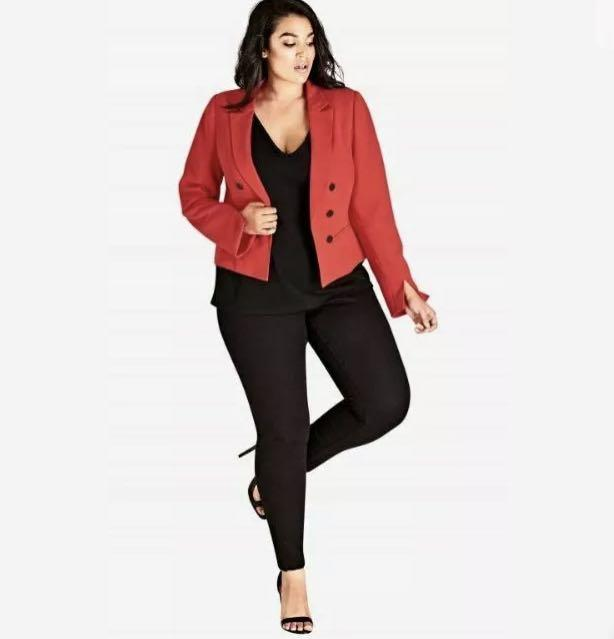 NWT City Chic Jacket Coat sz 22 XL Colour Red Coral