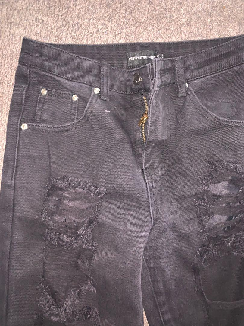 Pretty little thing black denim high waisted ripped jeans