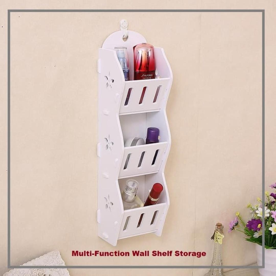 Rak Dinding Wood WPC Serbaguna Untuk Dapur Kamar Mandi rak Kosmetik