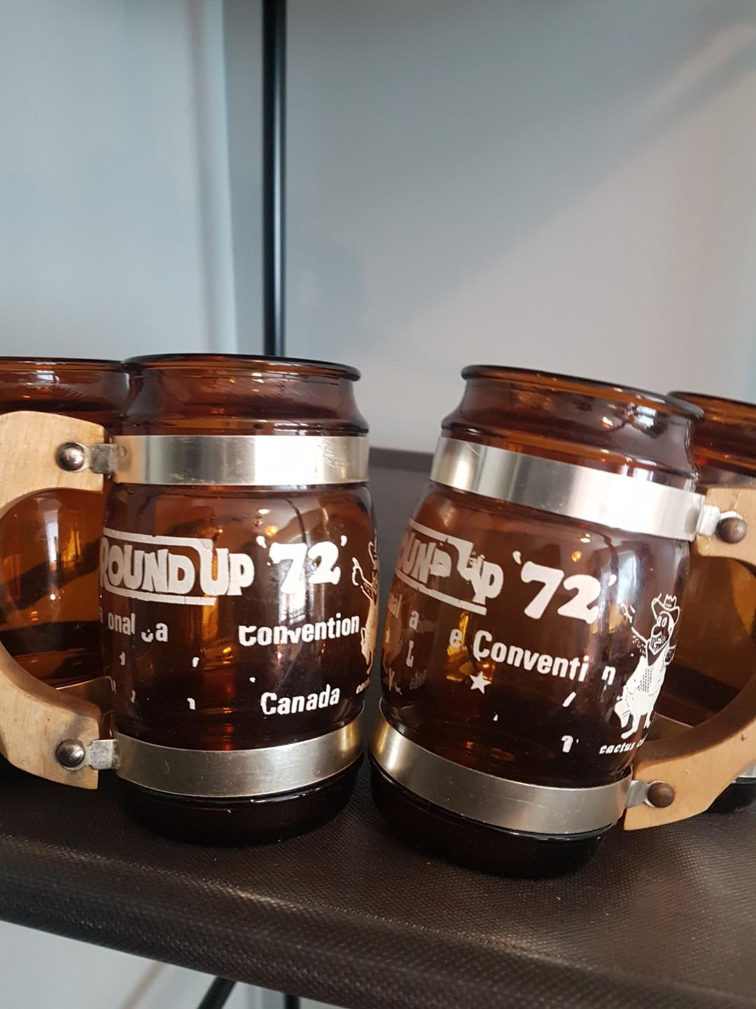 Set of 4 beer mugs vintage antique collectable glasses with wooden handles great looking mugs