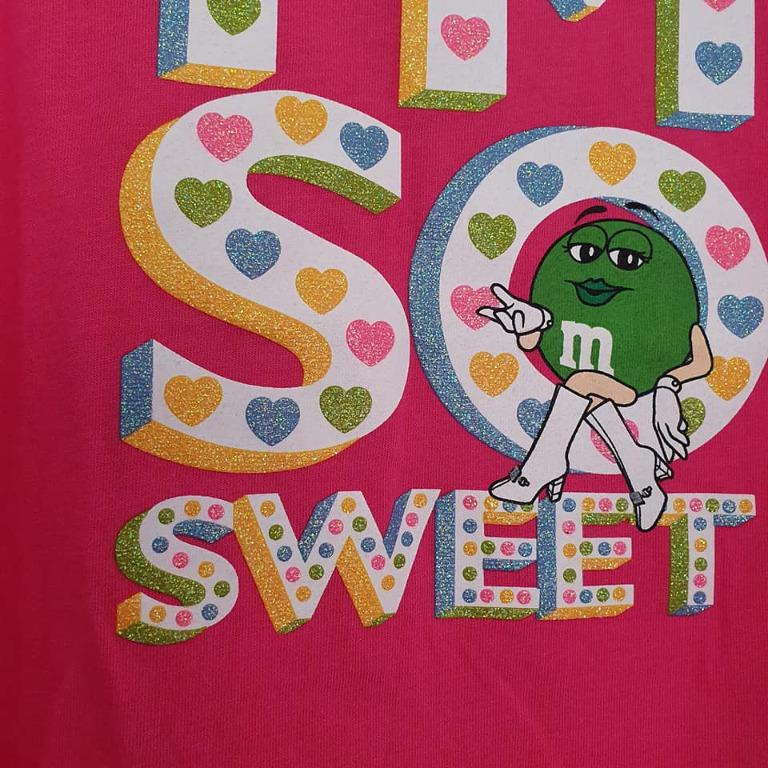 Size 5 New with tags M&M tshirt hot pink glitter print
