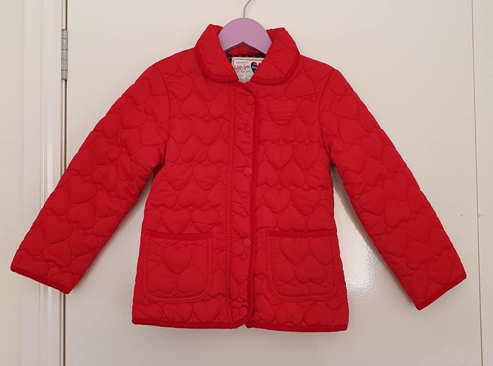 Size 6 As new Young Dimensions padded zip button jacket Red with embossed hearts