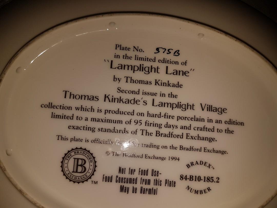 Thomas kinkade ,(lamplight lane),1994 plate #575b limited edition art plate