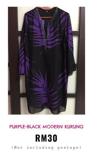 Black purple modern kurung