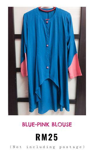 Blue pink blouse