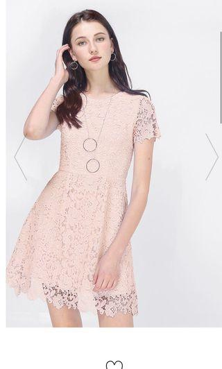 BNWT Fayth Mayfair Crochet Dress in Blush