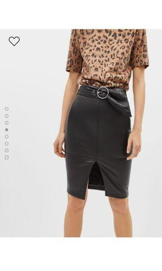 Bershka Faux Leather Midi Skirt