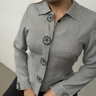 Checkered Blouse with Flower Patches