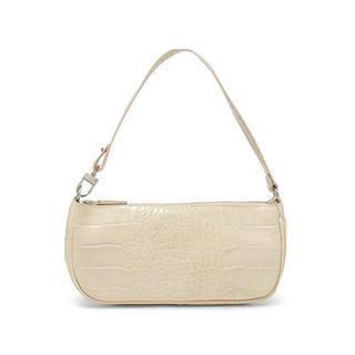 Croc pattern cream white minimalist shoulder bag