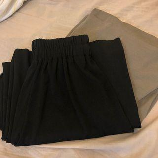 舒服軟料寬褲(可可灰綠、黑)
