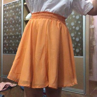 Orange Flare Tulle Skirt