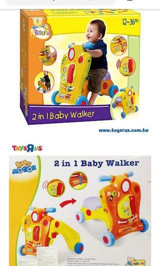 玩具反斗城 【BRUIN】二合一寶寶學步車