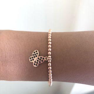 Italian Rose Gold beaded bracelet with butterfly charm